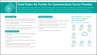 Cloud pushes the frontier for communications service providers