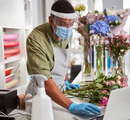 Man in flower shop