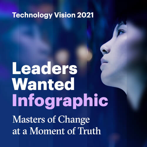 Technology Vision 2021. Leaders wanted. Infographic. Masters of Change at a Moment of Truth.