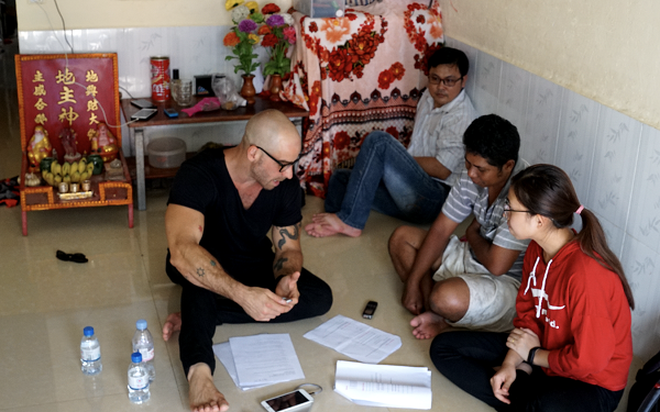 With the micro-business owners in Phnom Penh during our research