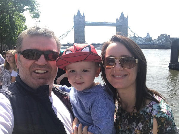 My husband and son with me on a London trip last year.