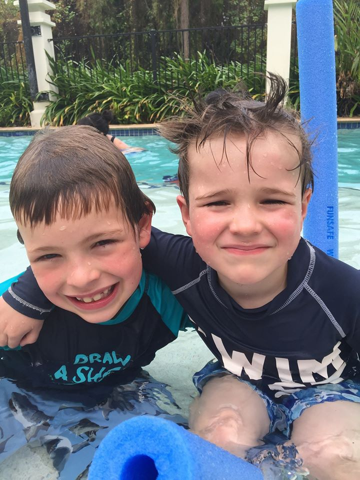 Our sons enjoying a day at the pool