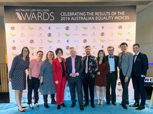 The PrideAtAccenture ANZ Team with Bob Easton at the Australian LGBTI Inclusion Awards 2019 in Sydney