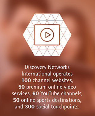 Discovery Networks International operates 100 channel websites, 50 premium online video services, 60 YouTube channels, 50 online sports destinations, and 300 social touchpoints.