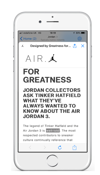 The new Jordan Messenger Chatbot Experience
