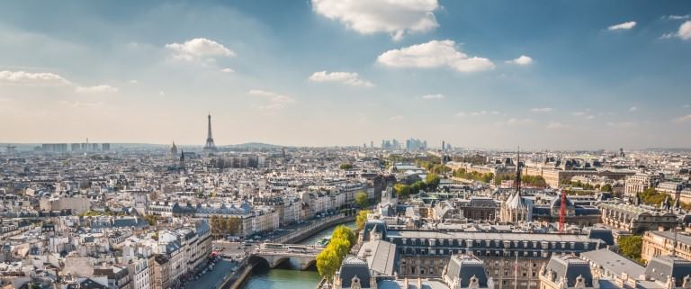 Arial view of the city of Paris France