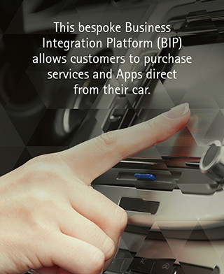 This bespoke Business Integration Platform (BIP) allows customers to purchase services and Apps direct from their car.