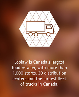 Loblaw is Canada's largest food retailer, with more than 1,000 stores, 30 distribution centers and the largest fleet of trucks in Canada.