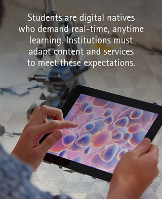 Students are digital natives who demand real-time, anytime learning. Institutions must adapt content and services to meet these expectations.