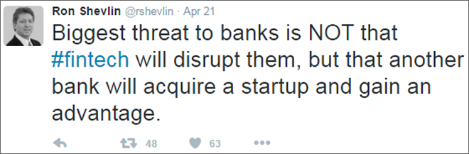 Biggest threat to banks is NOT that #fintech will disrupt them, but that another bank will acquire a startup and gain an advantage.