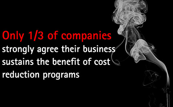 Only 1/3 of companies strongly agree their business sustains the benefit of cost reduction programs