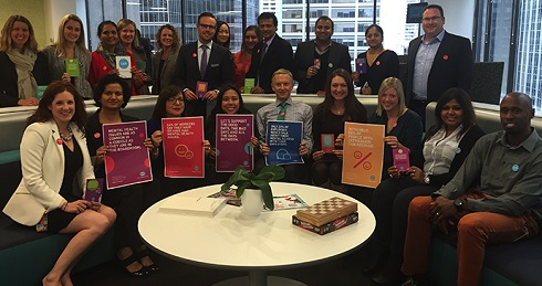 Employees support our Not Myself Today campaign in support of mental health