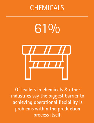 61%: Of leaders in chemicals & other industries say the biggest barrier to achieving operational flexibility is problems within the production process itself.