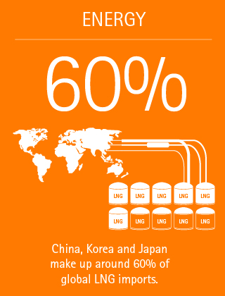 60%: China, Korea and Japan make up around 60% of global LNG imports.