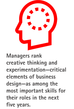 Managers rank creative thinking and experimentation—critical elements of business design—as among the most important skills for their roles in the next five years.