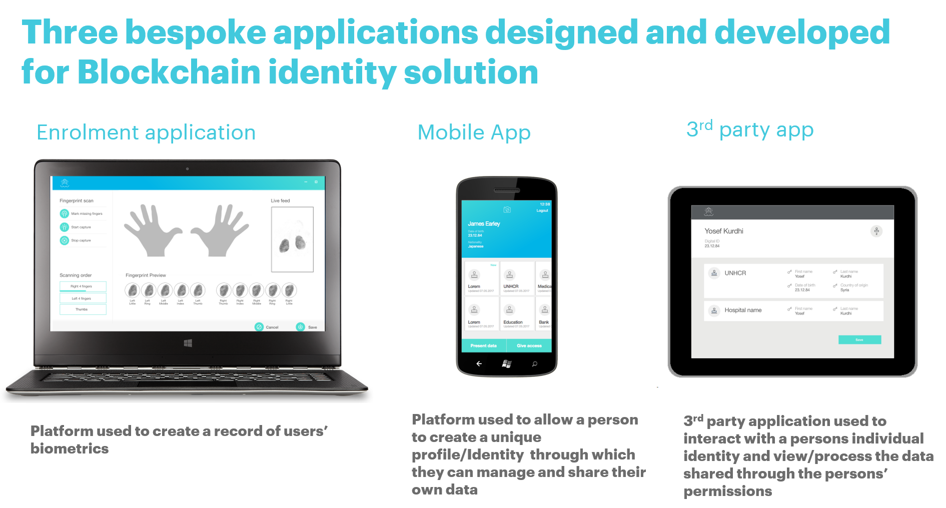 Three bespoke applications designed and developed for Blockchain identity solution.