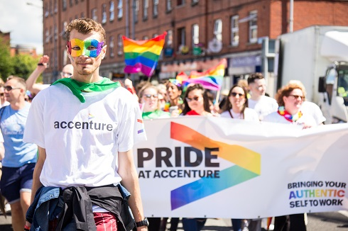 Our Pride at Accenture Network in Dublin marches in a local parade.