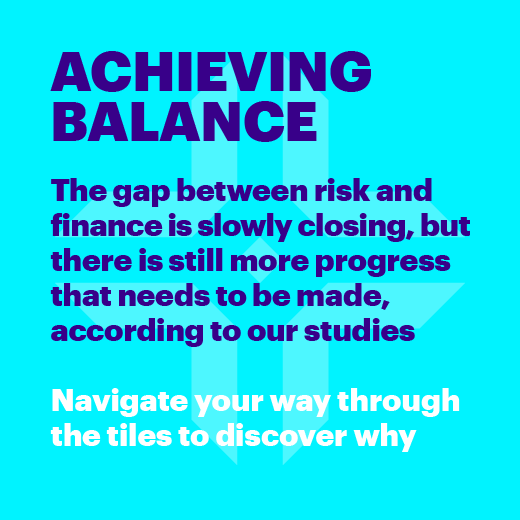 Achieving balance. The gap between risk and finance is slowly closing, but there is still more progress that needs to be made, according to our studies. Navigate your way through the tiles to discover why.
