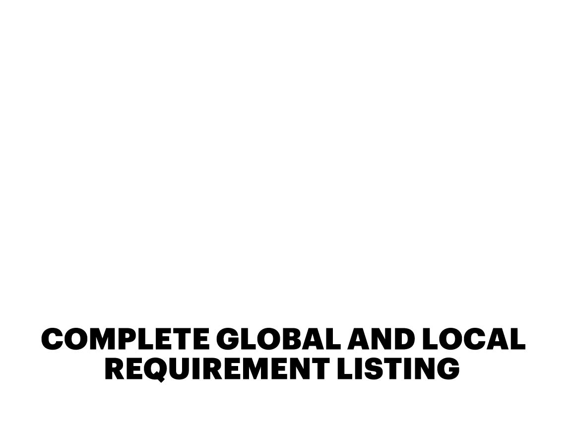 COMPLETE GLOBAL AND LOCAL REQUIREMENT LISTING