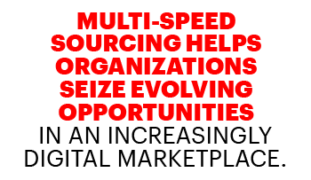 Multi-speed sourcing helps organizations seize evolving oppurtunities in an increasingly digital marketplace.