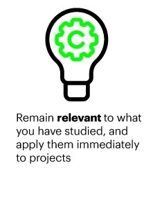 Remain relevant to what you have studied, and apply them immediately to projects