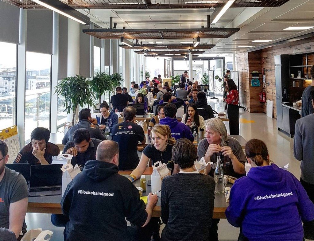 Inside the #blockchain4good hackathon at the dock