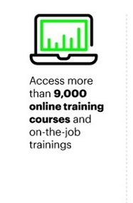Access more that 9,000 online training courses and on-th-job trainings