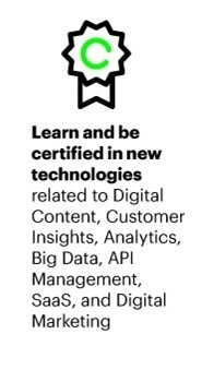 Learn and be certified in new technologies related to Digital Content, Customer Insights, Analytics, Big Data, API Management, SaaS, and Digital Marketing