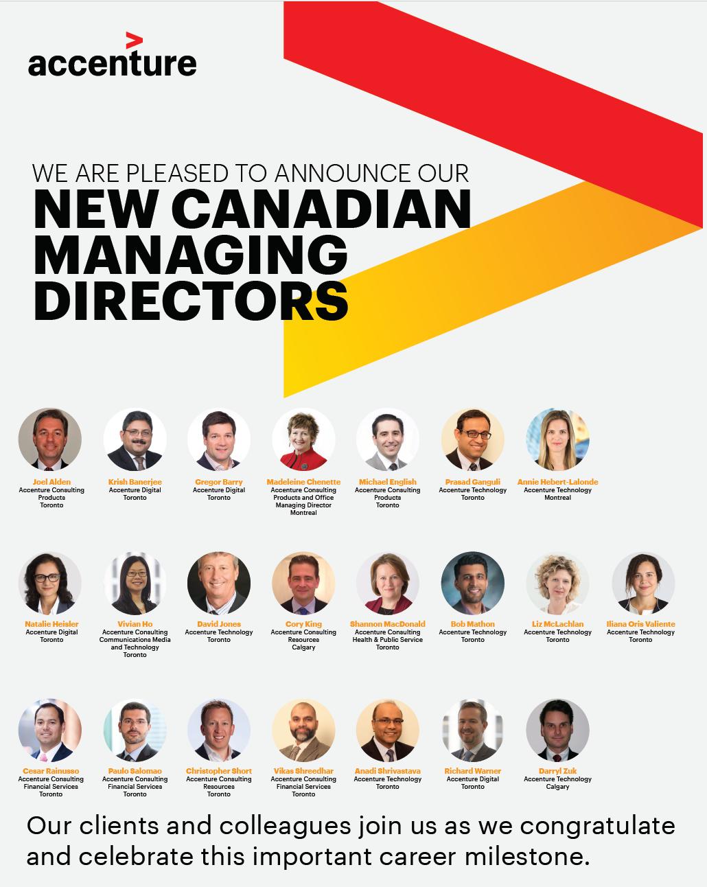 New Managing Directors in Canada | Accenture