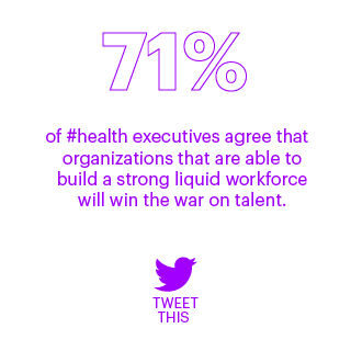 71% of #health execs agree that orgs that are able to build a strong liquid workforce will win the war on talent. Tweet this on Twitter. This opens a new window.