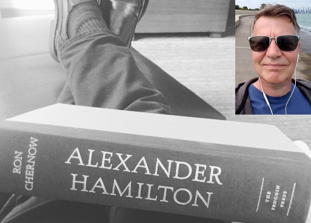 Jeff reading Hamilton book