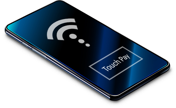 "A smartphone showing a wifi signal image with a ""Touch Play"" text in a button below it."