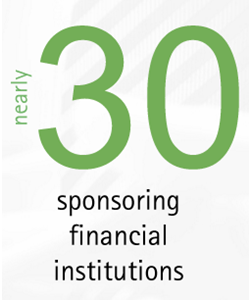 nearly 30 sponsoring financial institutions