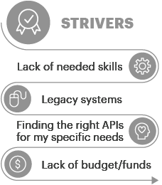 Strivers Lack of needed skills | Legacy systems | Finding the right APIs for my specific needs | Lack of budget/funding