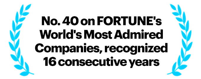 No. 40 on FORTUNE's World's Most Admired Companies Award