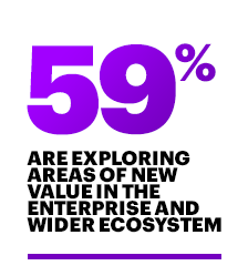 Explore areas of new value in the enterprise and wider ecosystem (56%/59%)