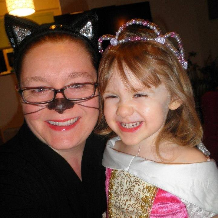 Meredith and I, all dressed up for Halloween