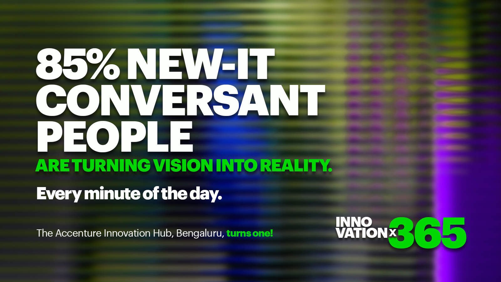 85% New-IT Conversant People are turning vision into reality. Every minute of the day.