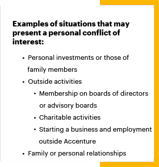 actual conflict of interest examples