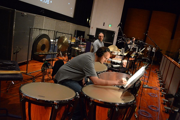 Recording for a scoring session at the Eastman Scoring Stage at Warner Brothers.