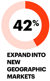 42% expand into new geographic markets