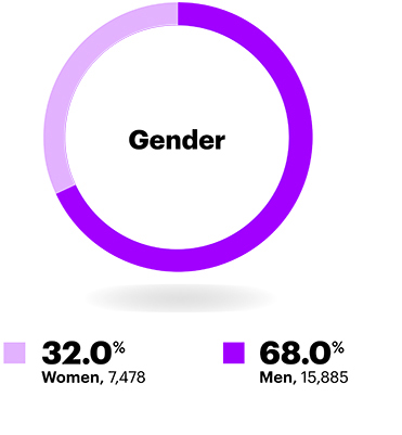 Gender: Gender diversity in the workplace statistics for executives only: 31.9% women, 68.1% men in 2018