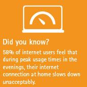 58% of internet users feel that during peak usage times in the evenings, their internet connection at home slows down unacceptably.