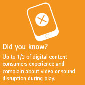 Up to 1/3 of digital content consumers experience and complain about video or sound disruption during play.